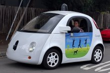 A Google self-driving car at the intersection of Junction Ave and North Rengstorff Ave in Mountain View.